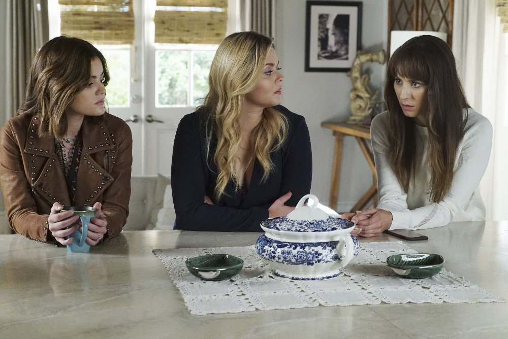 Aria (Lucy Hale), Ali (Sasha Pieterse), and Spencer (Troian Bellisario) appear in 'The Darkest Knight' episode of 'Pretty Little Liars.'