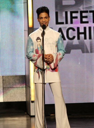 Prince accepts the Lifetime Achievement Award during the 2010 BET Awards held at the Shrine Auditorium on June 27, 2010 in Los Angeles