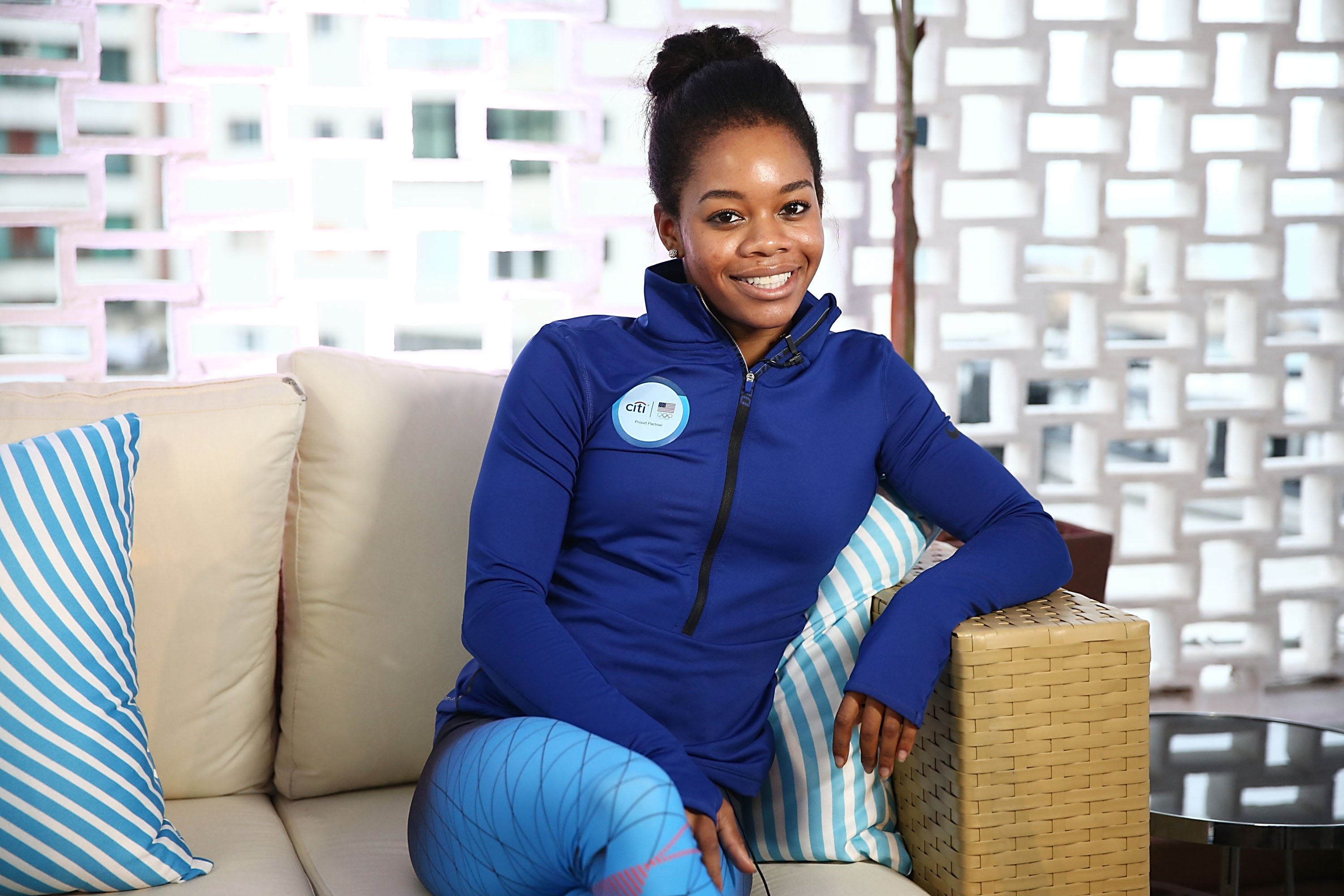 U.S. Olympian Gabby Douglas visits the Citi Terrace at the USA House at Colegio Sao Paulo on August 5, 2016 in Rio de Janeiro, Brazil