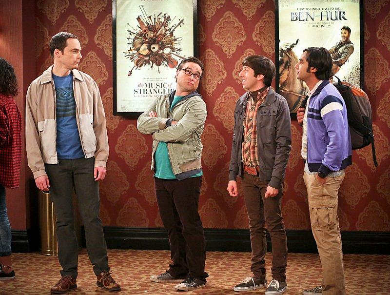 Sheldon Cooper (Jim Parsons), Leonard Hofstadter (Johnny Galecki), Howard Wolowitz (Simon Helberg) and Rajesh Koothrappali (Kunal Nayyar) in 'Big Bang Theory'