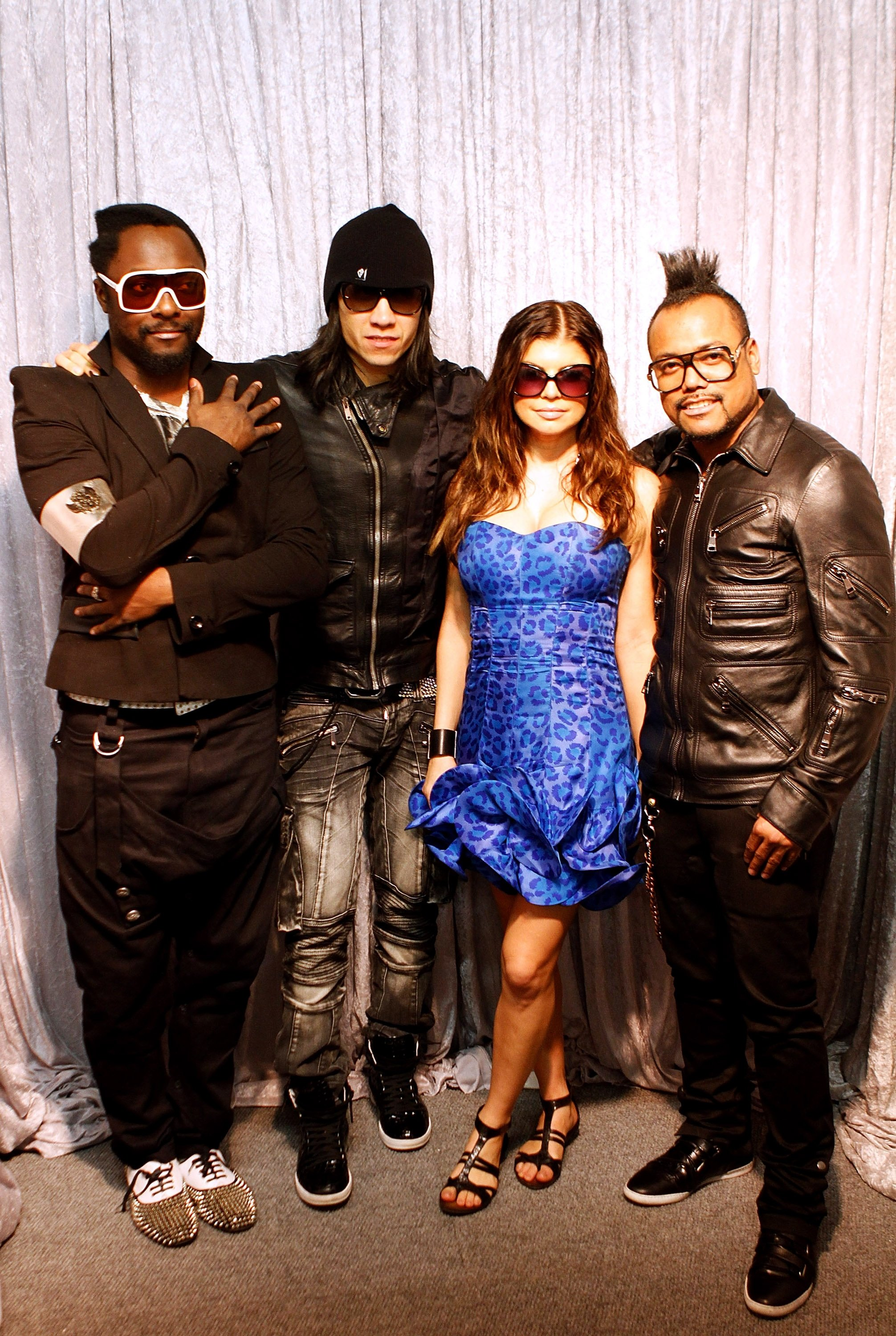 Will.i.Am, Taboo, Fergie and Apl.De.Ap of the Black Eyed Peas pose for photographers before the FIFA World Cup Kick-off Celebration Concert at Soccer City in Johannesburg, South Africa on June 9, 2010
