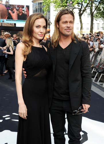 Angelina Jolie and Brad Pitt attend the world premiere of 'World War Z' on June 2, 2013 in London