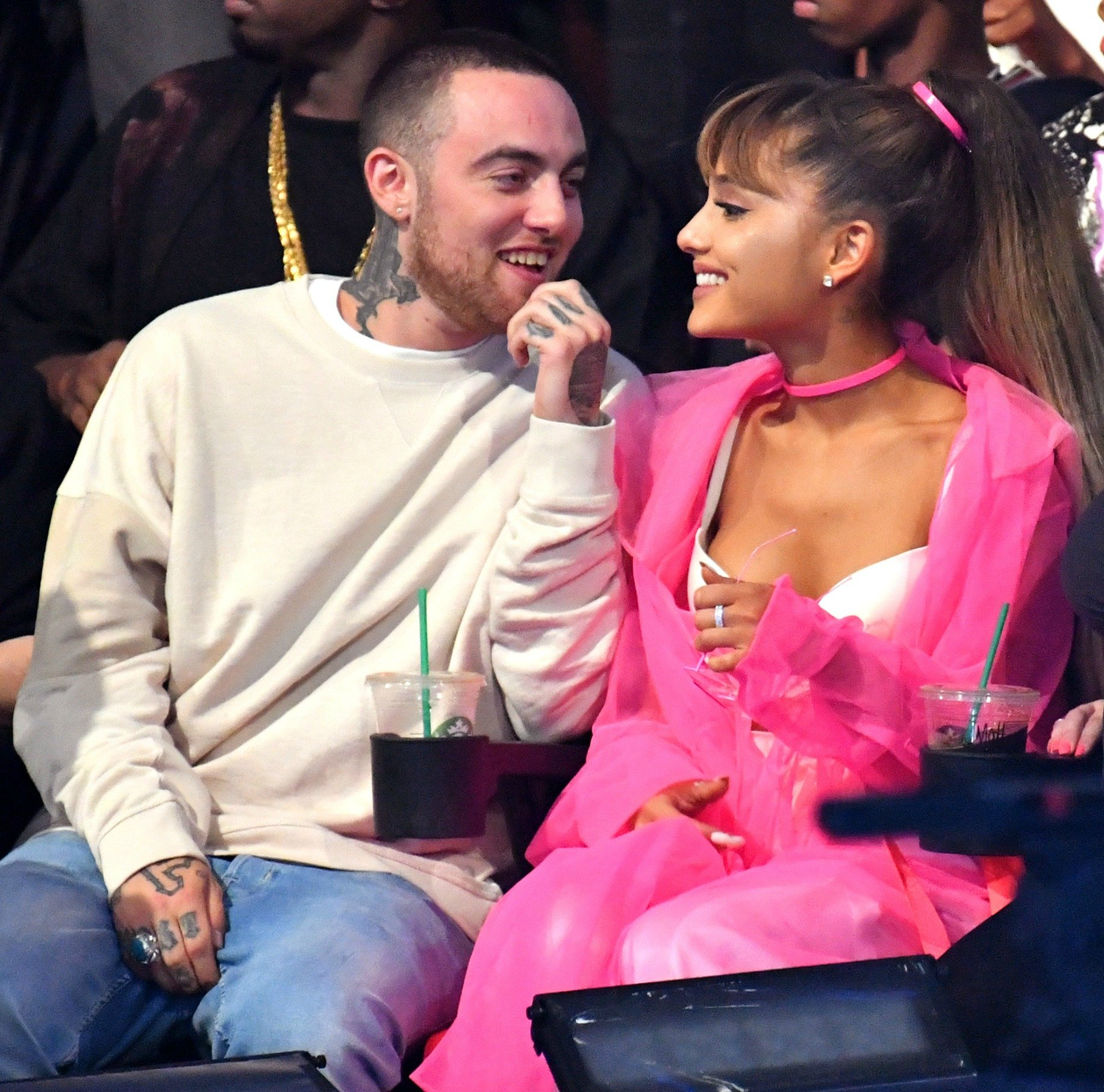 Mac Miller and Ariana Grande attend the 2016 MTV Video Music Awards at Madison Square Garden on August 28, 2016 in New York City