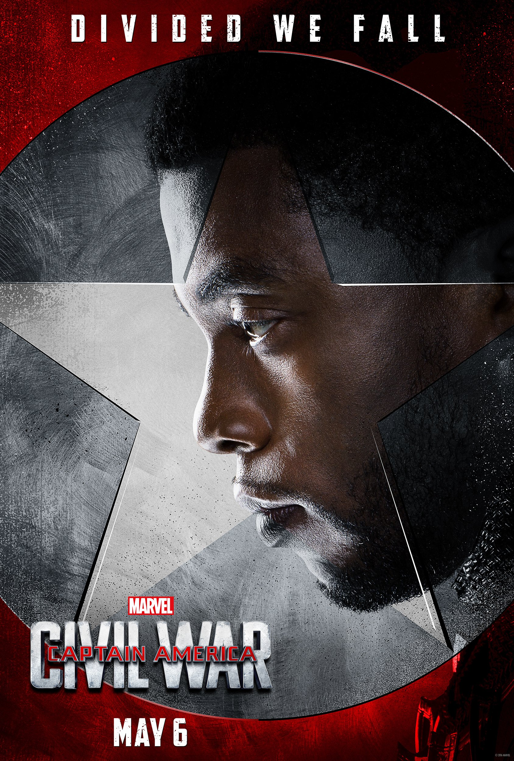 Chadwick Boseman as Black Panther in a character poster for 'Captain America: Civil War'