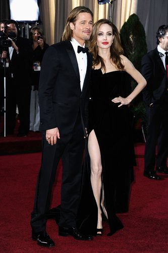 Brad Pitt and Angelina Jolie arrive at the 84th Annual Academy Awards held at the Hollywood & Highland Center on February 26, 2012 in Hollywood