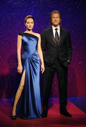 Madame Tussauds unveils new wax figures for Brad Pitt and Angelina Jolie ahead of Brad's 50th birthday on December 18th at Madame Tussauds on December 17, 2013 in London