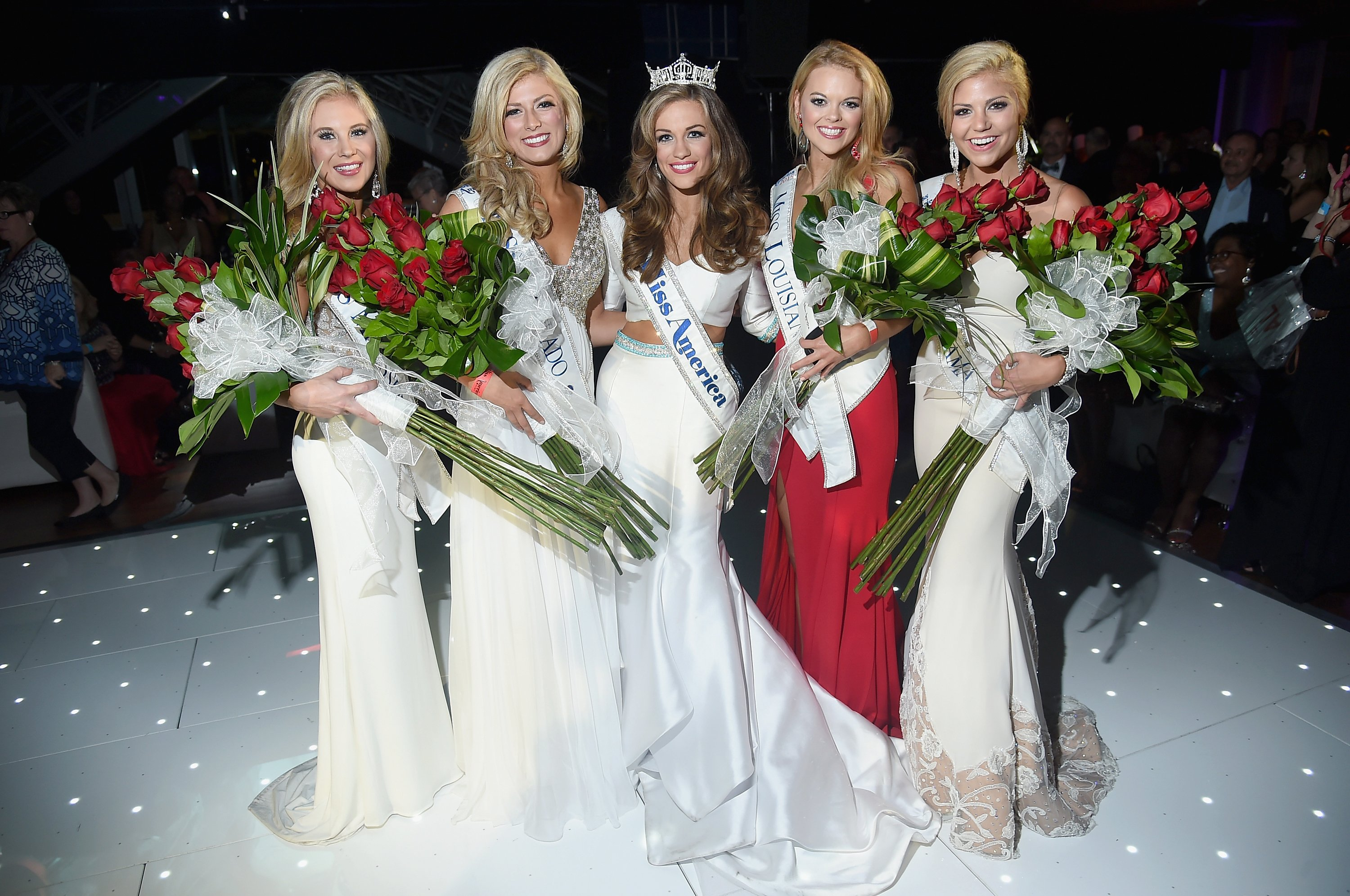 Miss Alabama, Meg McGuffin, Miss Louisiana, April Nelson, Miss America 2016, Betty Cantrell, Miss Mississippi, Hannah Roberts, Miss Colorado, Kelley Johnson attend The 2016 Official Miss America After-Party at on September 13, 2015 in Atlantic City