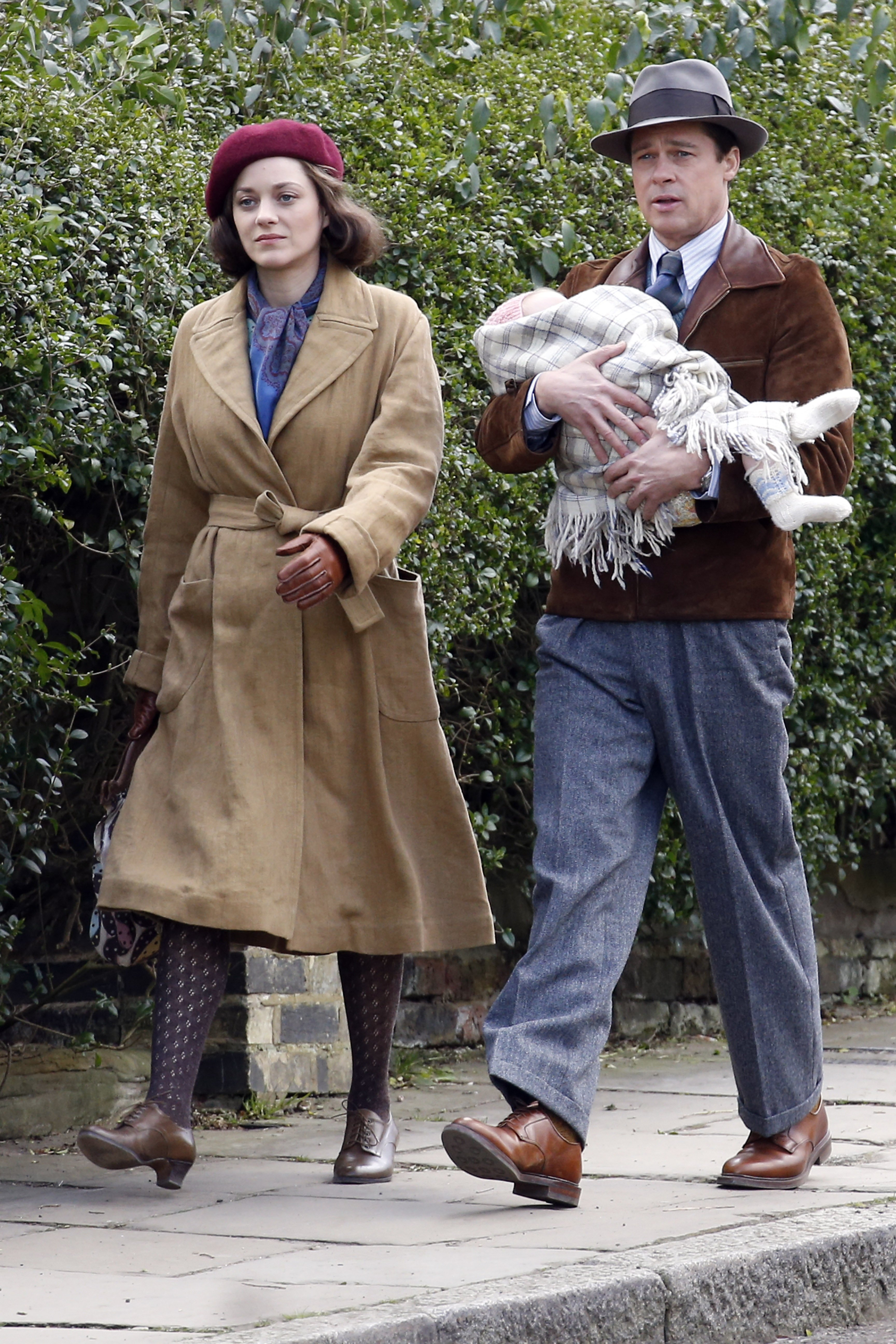 Marion Cotillard and Brad Pitt seen filming scenes for 'Five Seconds Of Silence' in Hampstead on March 31, 2016 in London