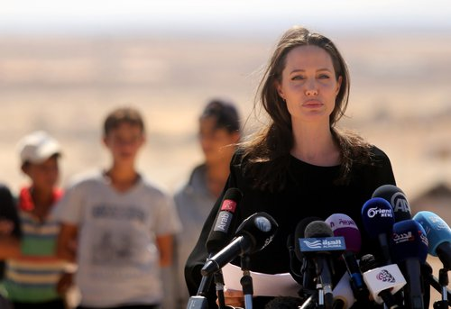 Angelina Jolie speaks during a press conference at Al- Azraq camp for Syrian refugees on September 9, 2016, in Azraq, Jordan