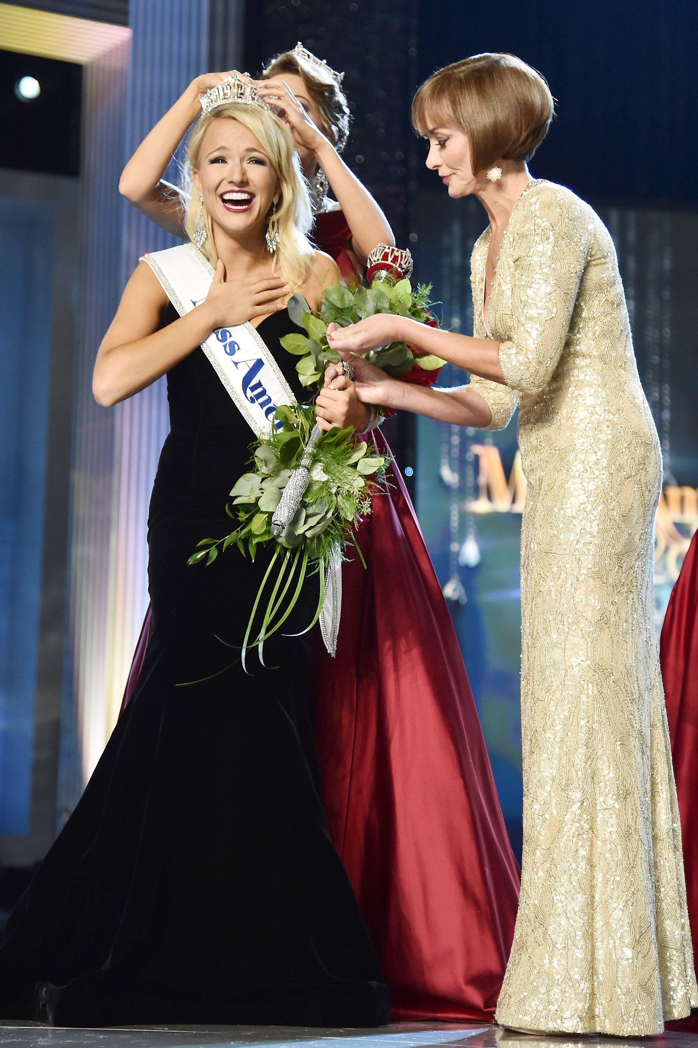 Miss America 2017 Savvy Shields and Chairman of the Board at Miss America Organization Lynn Weidner appear onstage during the 2017 Miss America Competition at Boardwalk Hall Arena on September 11, 2016 in Atlantic City
