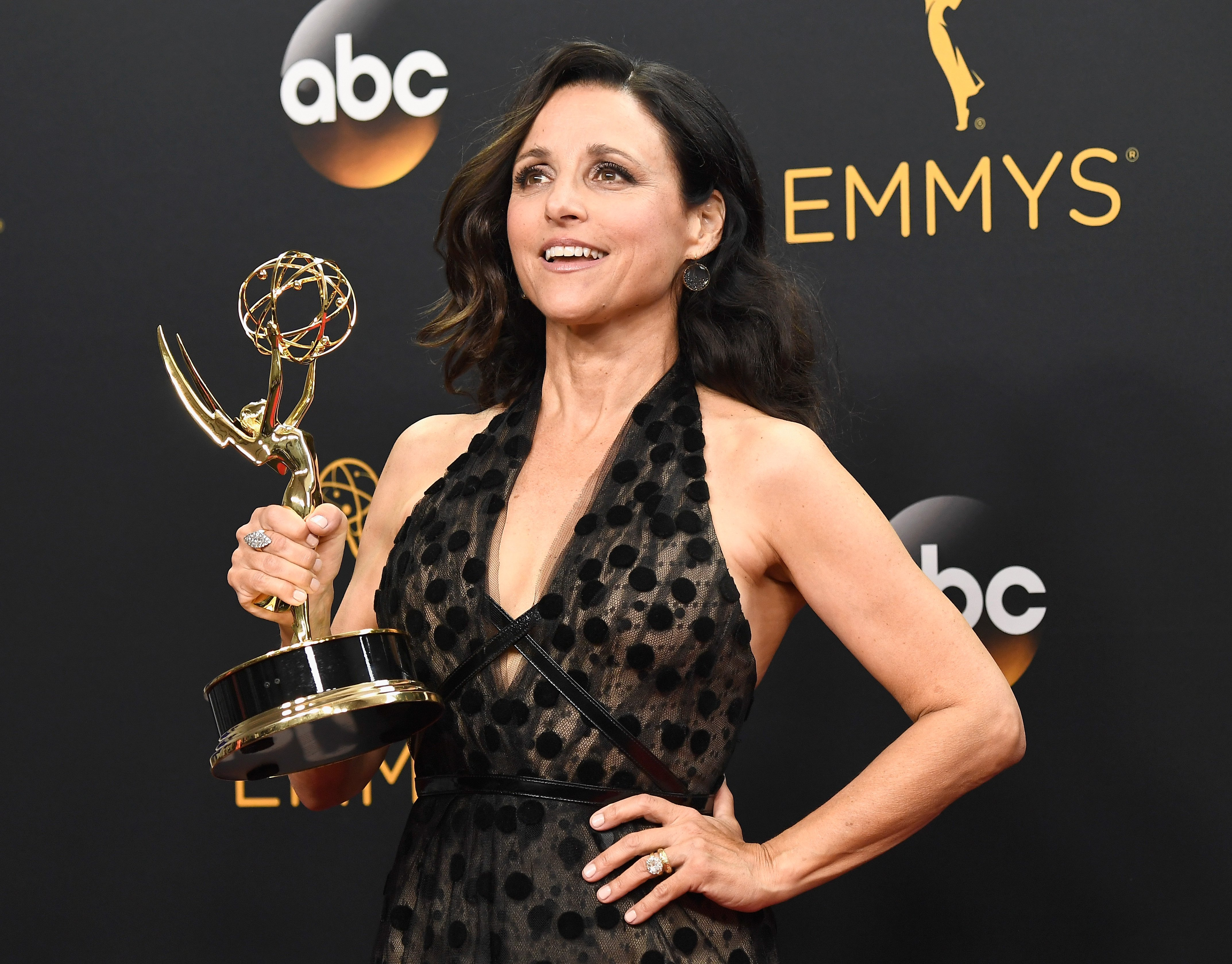 Julia Louis-Dreyfus, winner of Best Actress in a Comedy Series for 'Veep', poses in the press room during the 68th Annual Primetime Emmy Awards at Microsoft Theater on September 18, 2016 in Los Angeles
