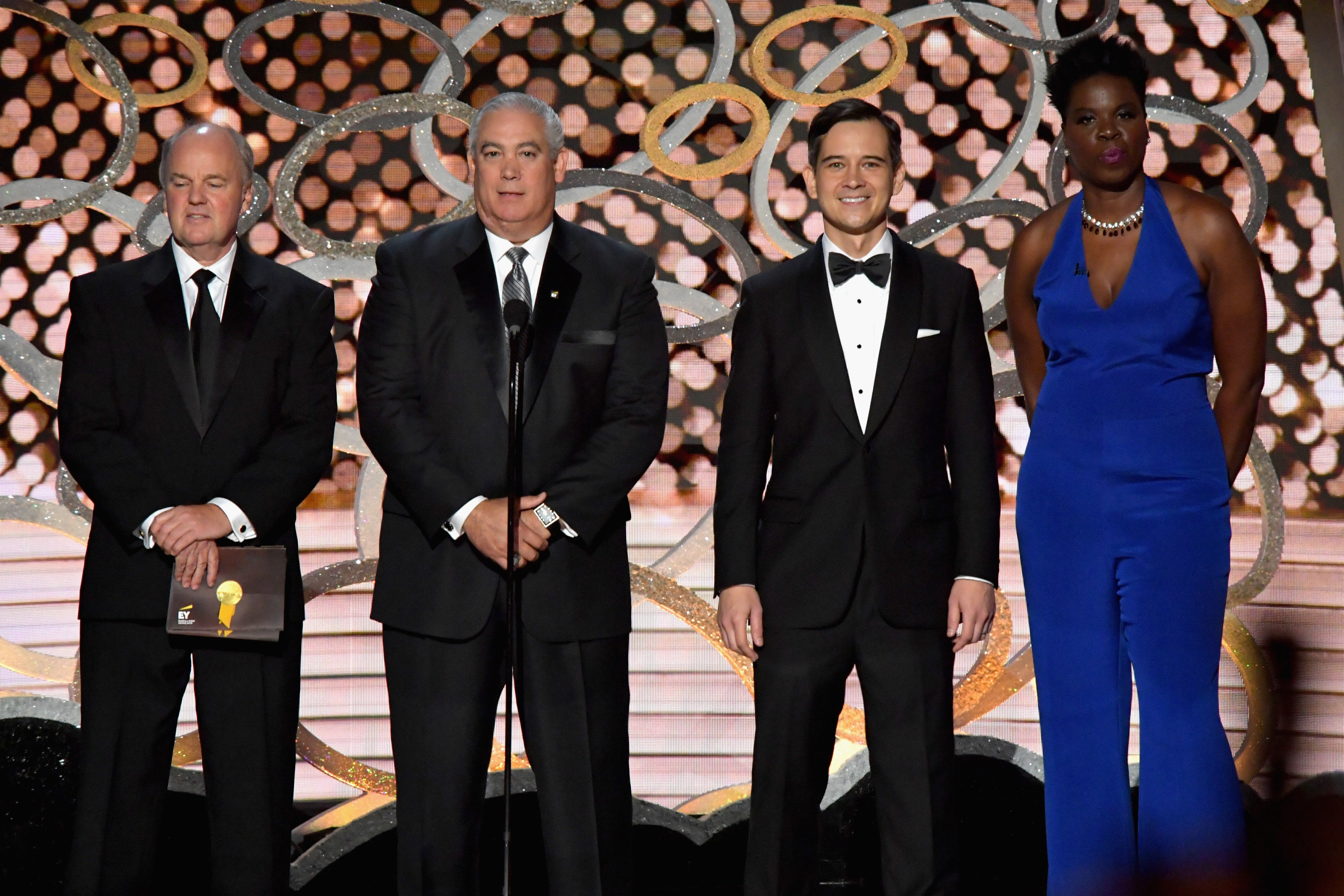 Leslie Jones and representatives of Ernst & Young speak onstage during the 68th Annual Primetime Emmy Awards at Microsoft Theater on September 18, 2016 in Los Angeles