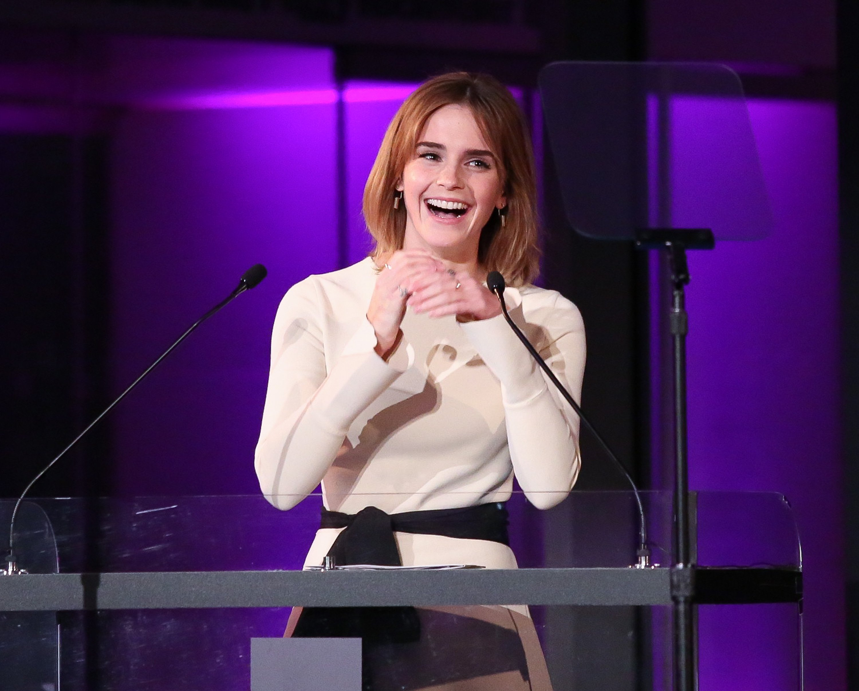 Emma Watson speaks at HeForShe 2nd Anniversary Reception at Museum of Modern Art on September 20, 2016 in New York Cit