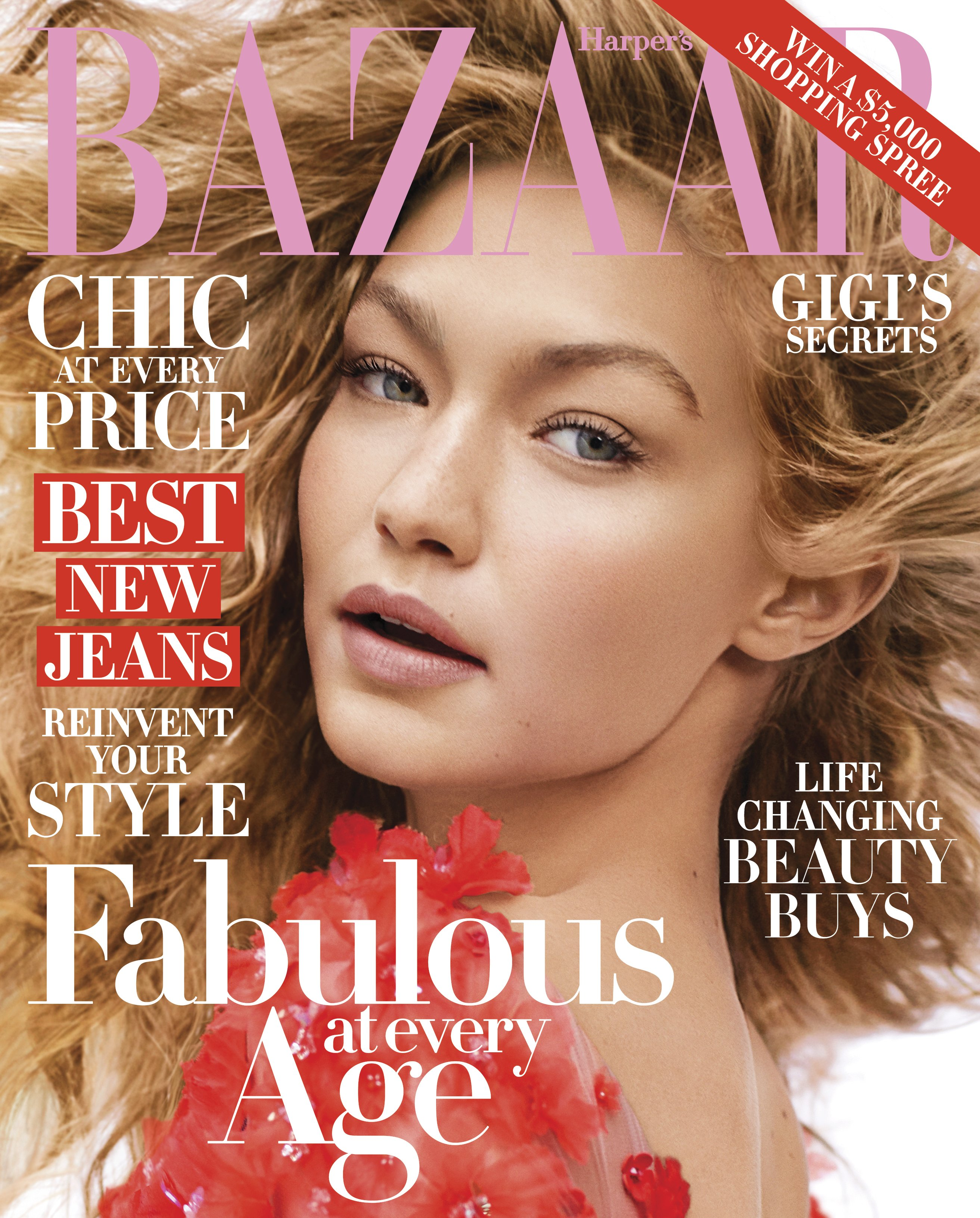 Gigi Hadid covers the October 2016 issue of Harper's Bazaar