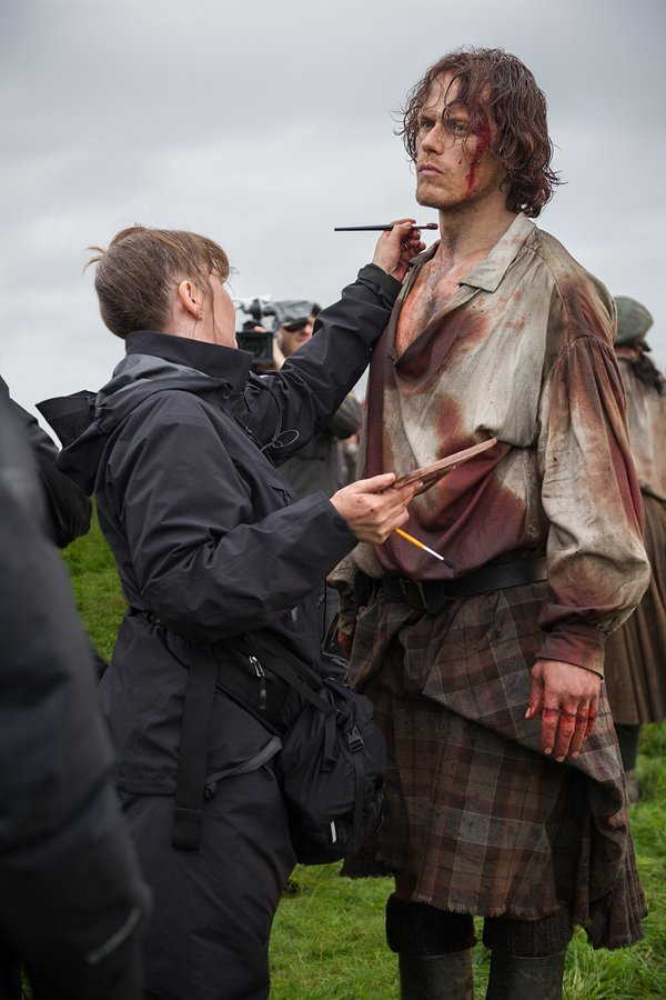 Sam Heughan on the set of 'Outlander' Season 3
