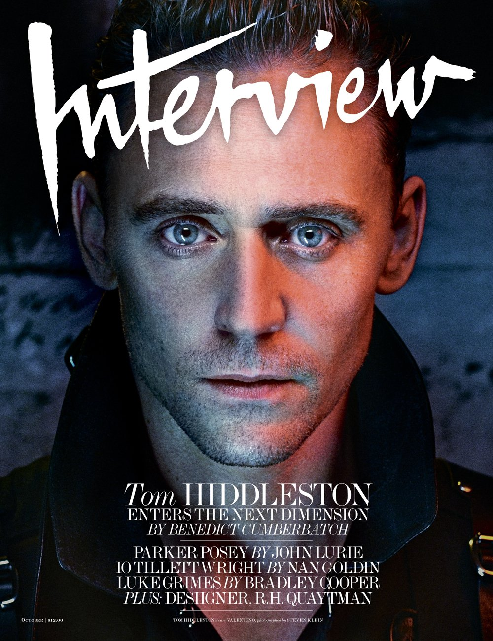 Tom Hiddleston (photographed by Steven Klein) on the cover of Interview magazine's October 4, 2016 issue