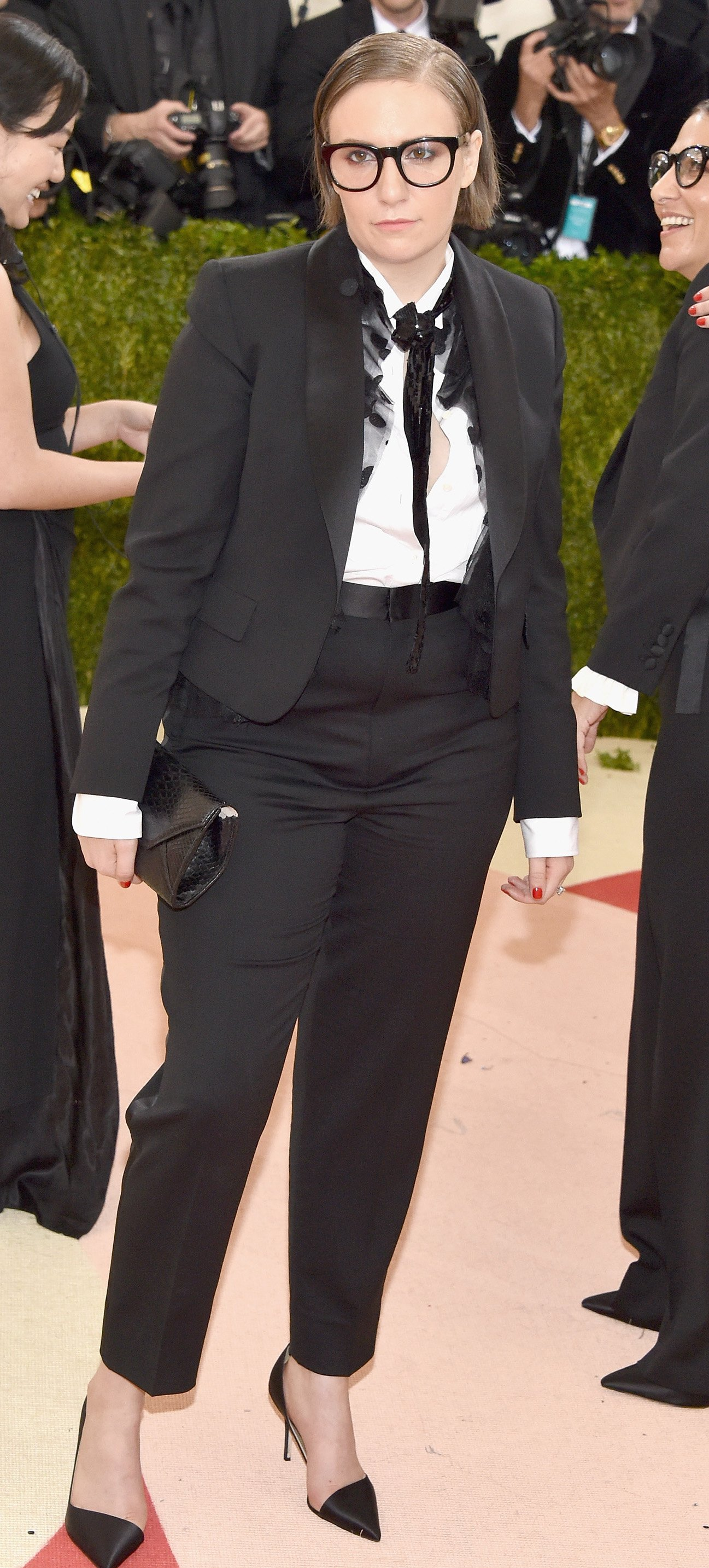 croppped Lena Dunham Met Gala on May 2, 2016