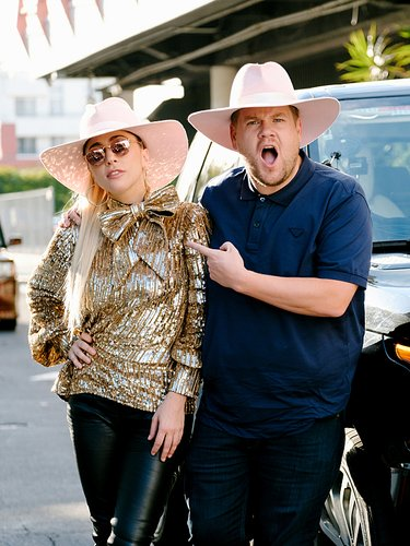 Lady Gaga and James Corden in a promo photo for Carpool Karaoke on 'The Late Late Show with James Corden,' Oct. 2016