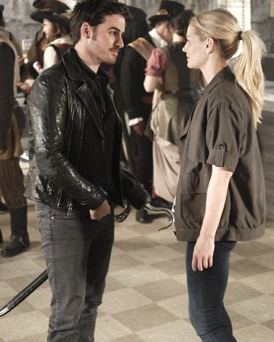 Colin O'Donoghue as Hook and Jennifer Morrison as Emma Swan in 'Once Upon a Time' Season 6, Episode 2 -- 'A Bitter Draught'