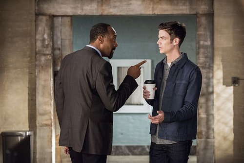 Jesse L. Martin as Detective Joe West and Grant Gustin as Barry Allen in 'The Flash' Season 3, Episode 2 -- 'Paradox'