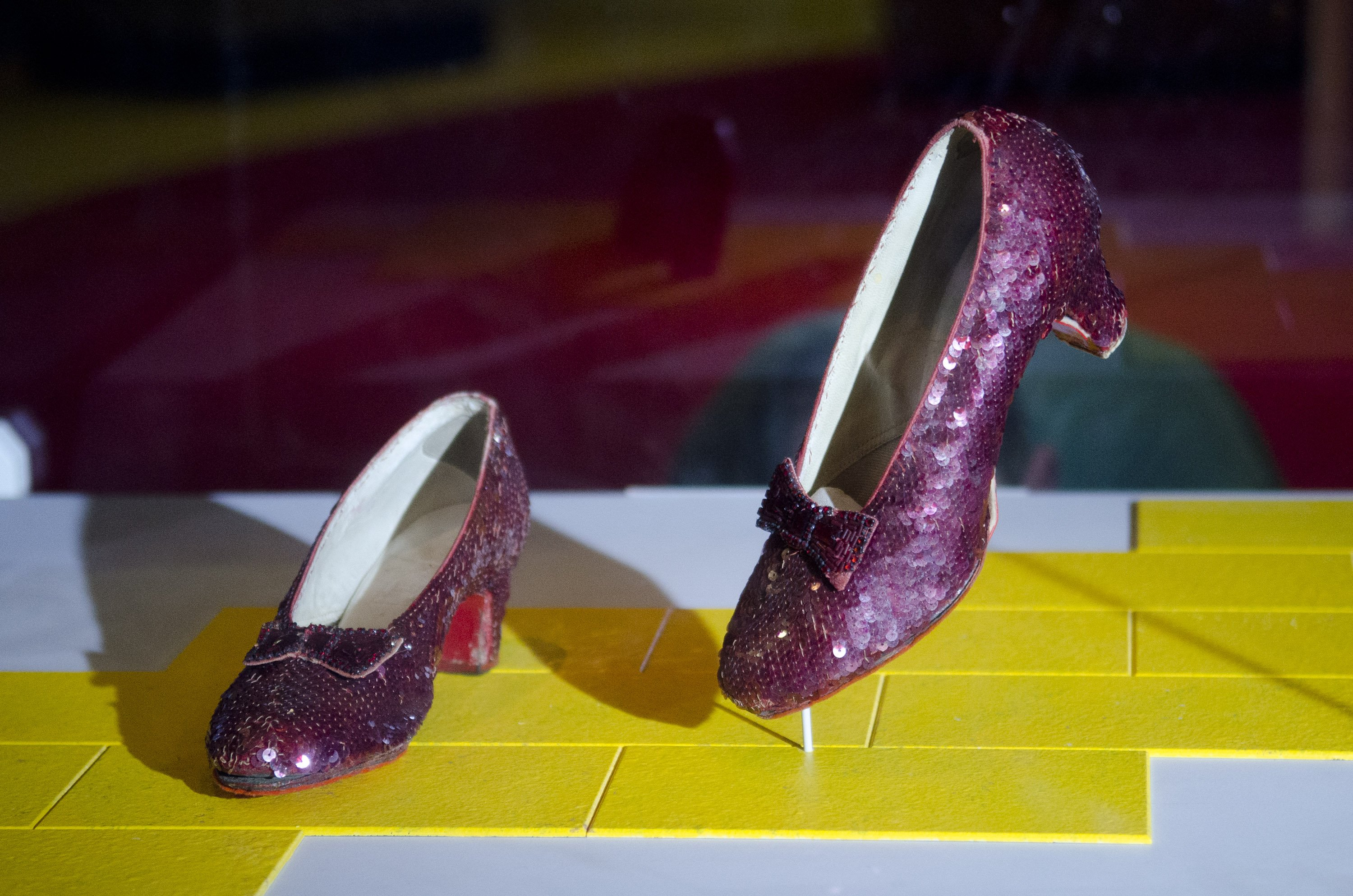 A photo of the Ruby Slippers from 'The Wizard Of Oz' are taken off view from the Smithsonian's National Museum of American History to appear in the 'Hollywood Costume' exhibition at the Victoria and Albert Museum in London at National Museum Of American H