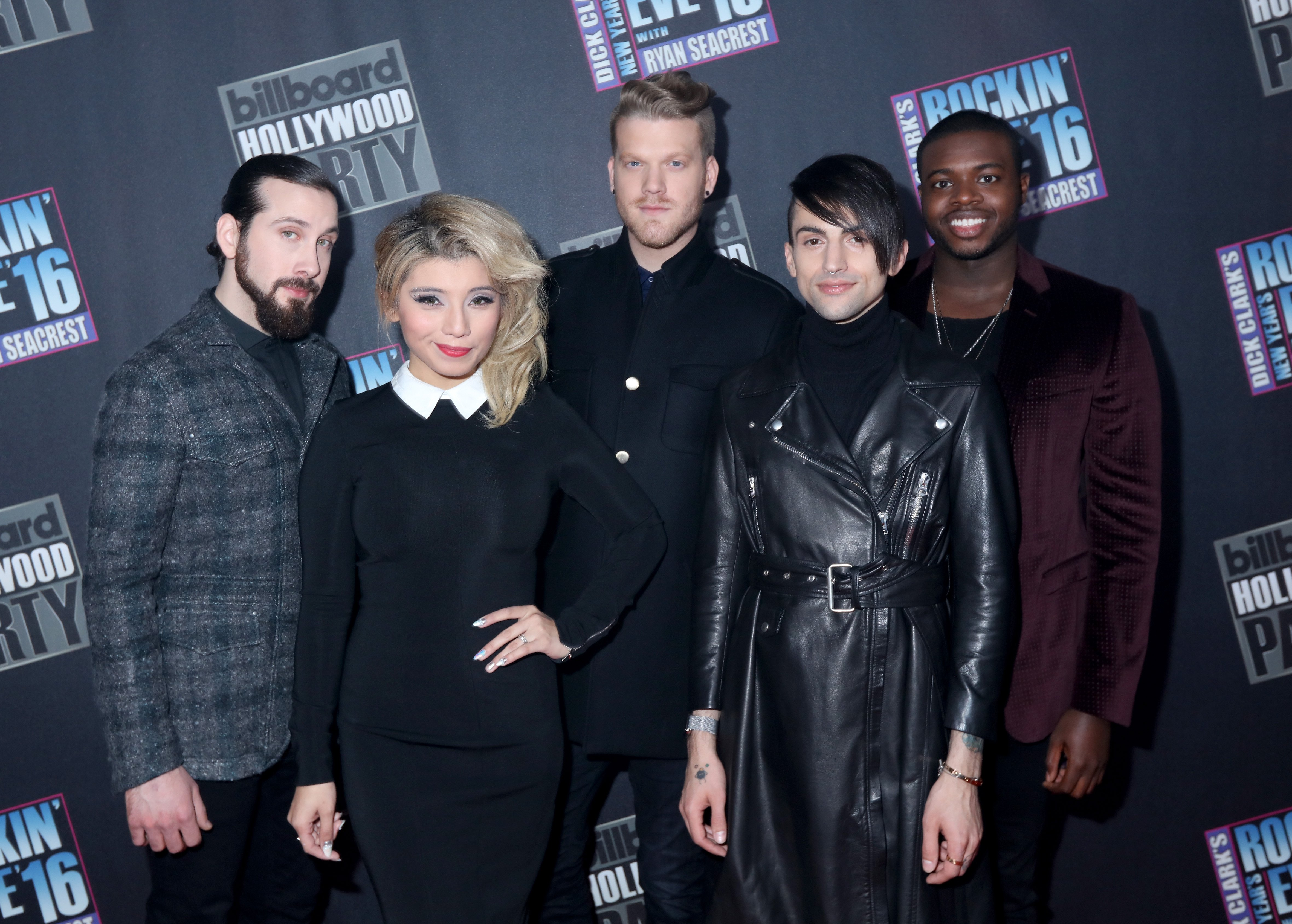 Avi Kaplan, Kirstin Maldonado, Scott Hoying, Mitch Grassi and Kevin Olusola of Pentatonix attends Dick Clark's New Year's Rockin' Eve with Ryan Seacrest 2016 on December 31, 2015 in Los Angeles