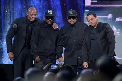Dr. Dre, MC Ren, Ice Cube, and DJ Yella pose onstage at the 31st Annual Rock And Roll Hall Of Fame Induction Ceremony at Barclays Center on April 8, 2016 in New York City