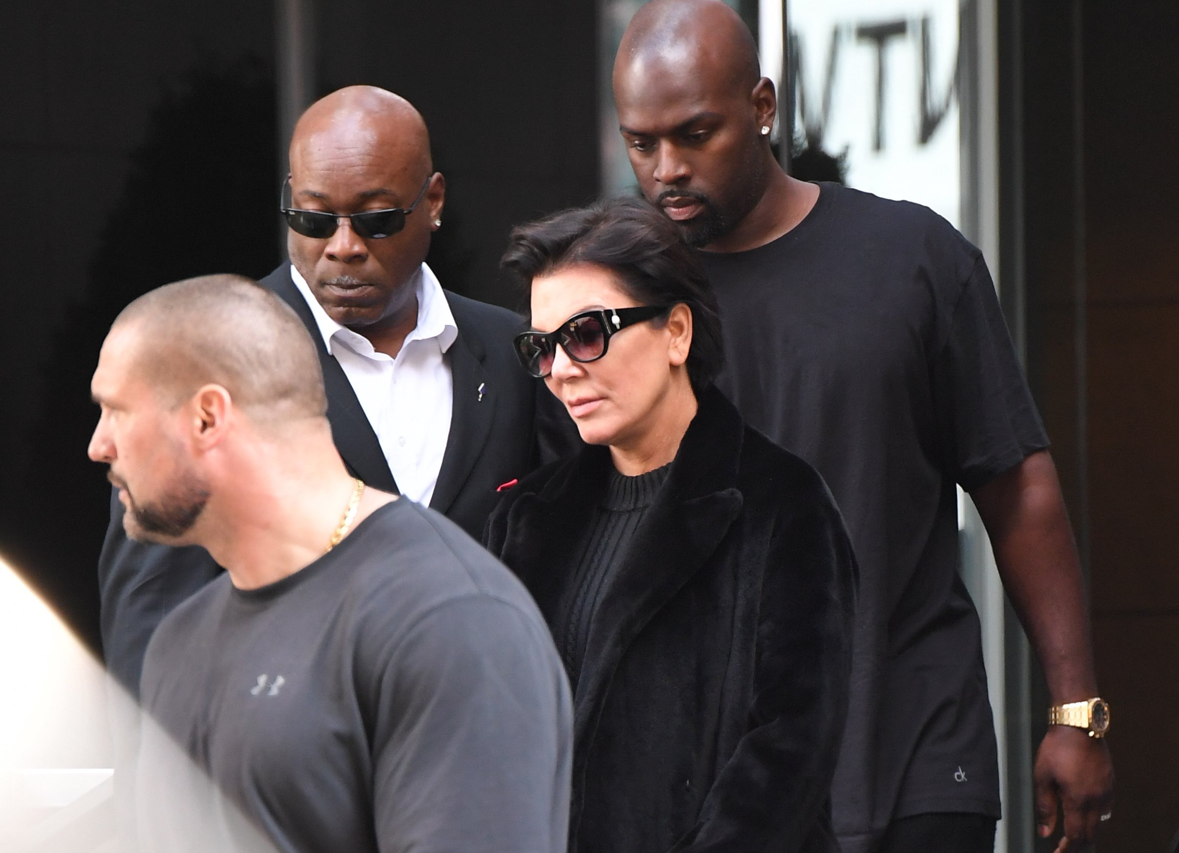 Kris Jenner and Corey Gamble leave Kim Kardashian and Kanye West's apartment on October 3, 2016