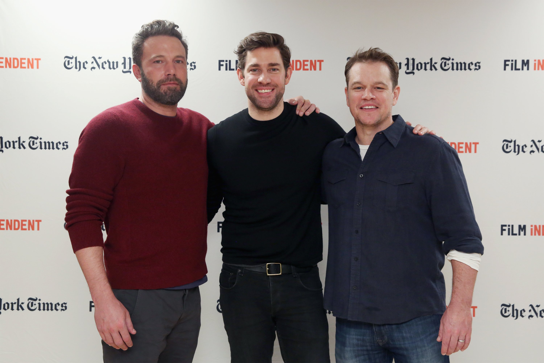 Ben Affleck, John Krasinski and Matt Damon attend the Film Independent NYC 'Live Read' at NYU Skirball Center on October 7, 2016 in New York City