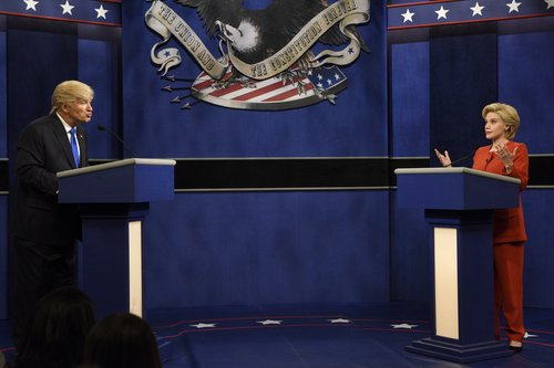 Alec Baldwin as Donald Trump and Kate McKinnon as Hillary Clinton in the debate sketch on the Season 42 premiere of 'Saturday Night Live,' Oct. 1, 2016