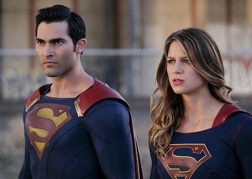 Tyler Hoechlin as Clark/Superman and Melissa Benoist as Kara/Supergirl in 'Supergirl' Season 2, Episode 2 -- 'The Last Children of Krypton'