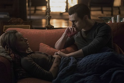 Kat Graham as Bonnie and Michael Malarkey as Enzo in 'The Vampire Diaries' Season 7