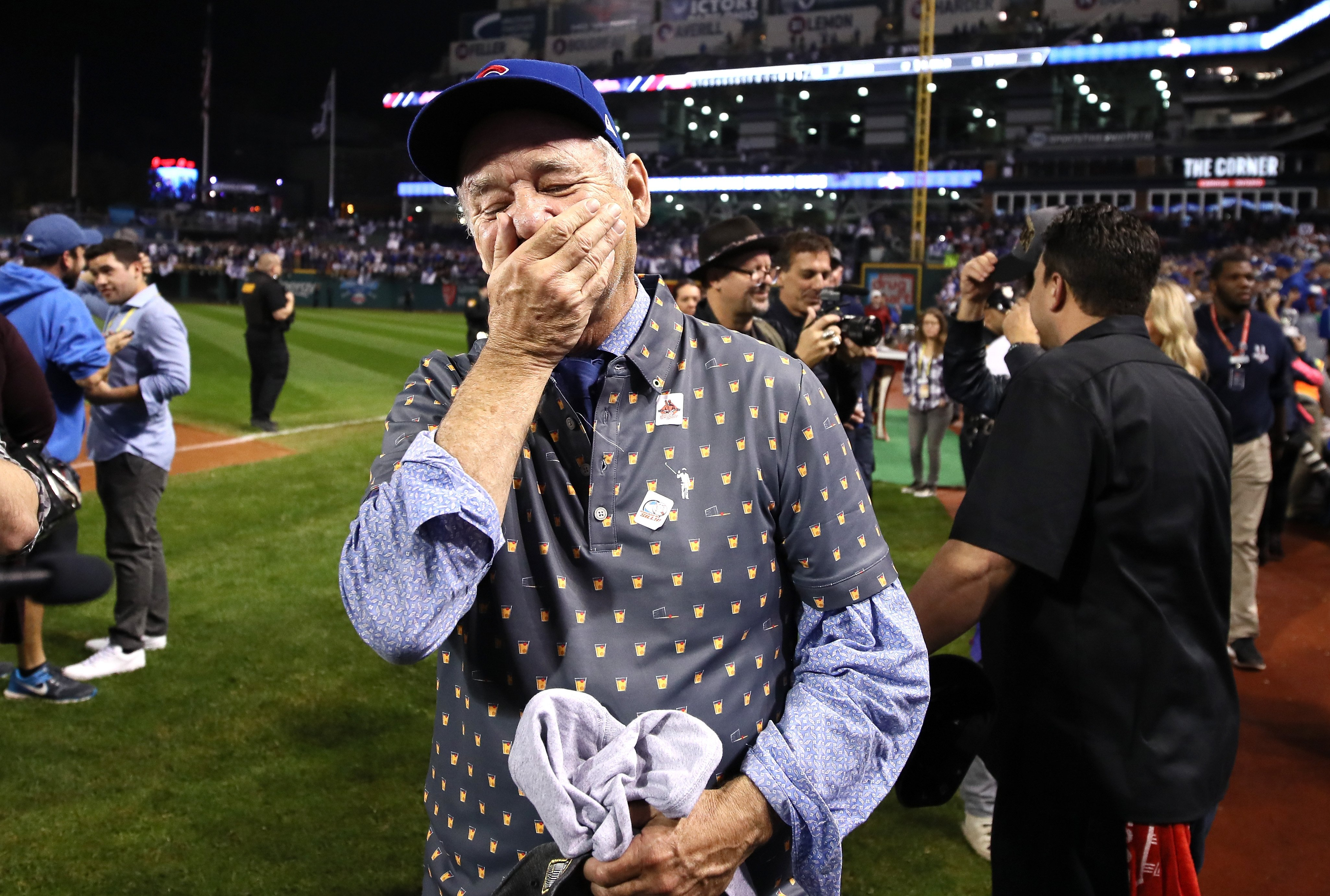 Bill Murray reacts on the field after the Chicago Cubs defeated the Cleveland Indians 8-7 in Game Seven of the 2016 World Series at Progressive Field on November 2, 2016 in Cleveland