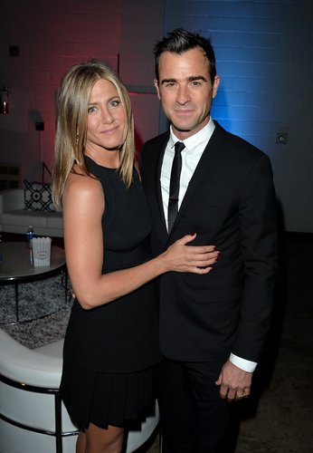 Jennifer Aniston and Justin Theroux attend the 'Cake' premiere during the 2014 Toronto International Film Festival at The Elgin on September 8, 2014 in Toronto