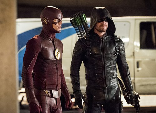 Grant Gustin as Barry Allen/The Flash and Stephen Amell as Oliver Queen/The Green Arrow in 'The Flash' Season 3, Episode 8 -- 'Invasion' (Part 2 of the crossover event 2016)