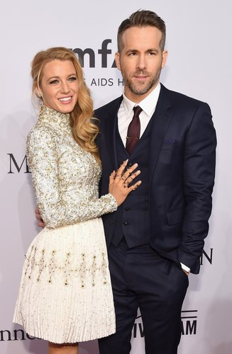 Blake Lively and Ryan Reynolds attend 2016 amfAR New York Gala at Cipriani Wall Street on February 10, 2016 in New York City