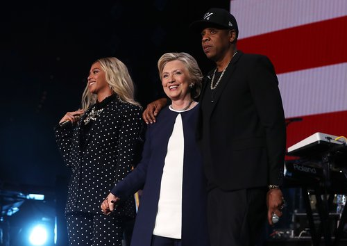 Beyoncé, Hillary Clinton and Jay Z at a Get Out The Vote concert