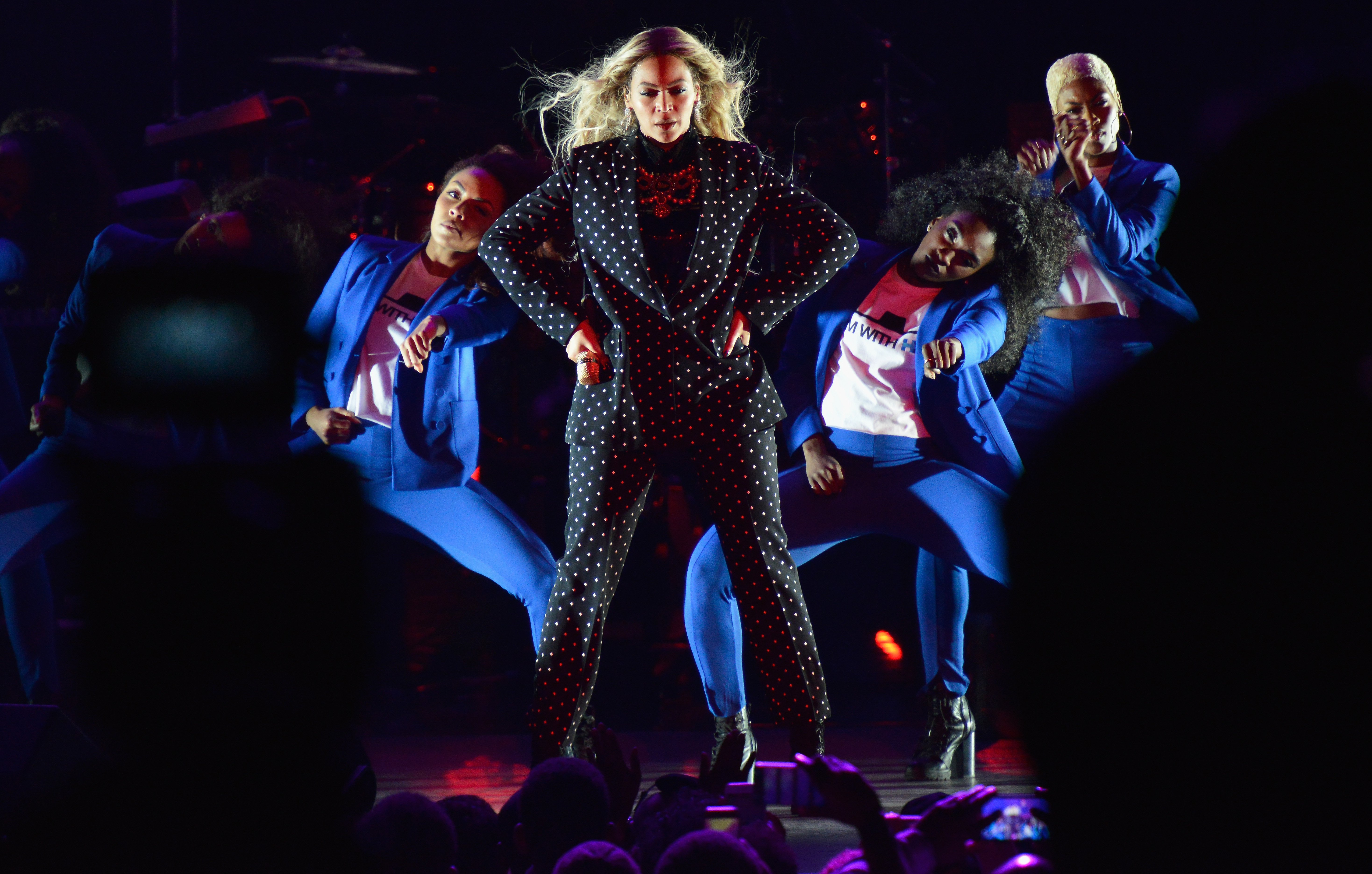 Beyoncé performs on stage during a Get Out The Vote concert