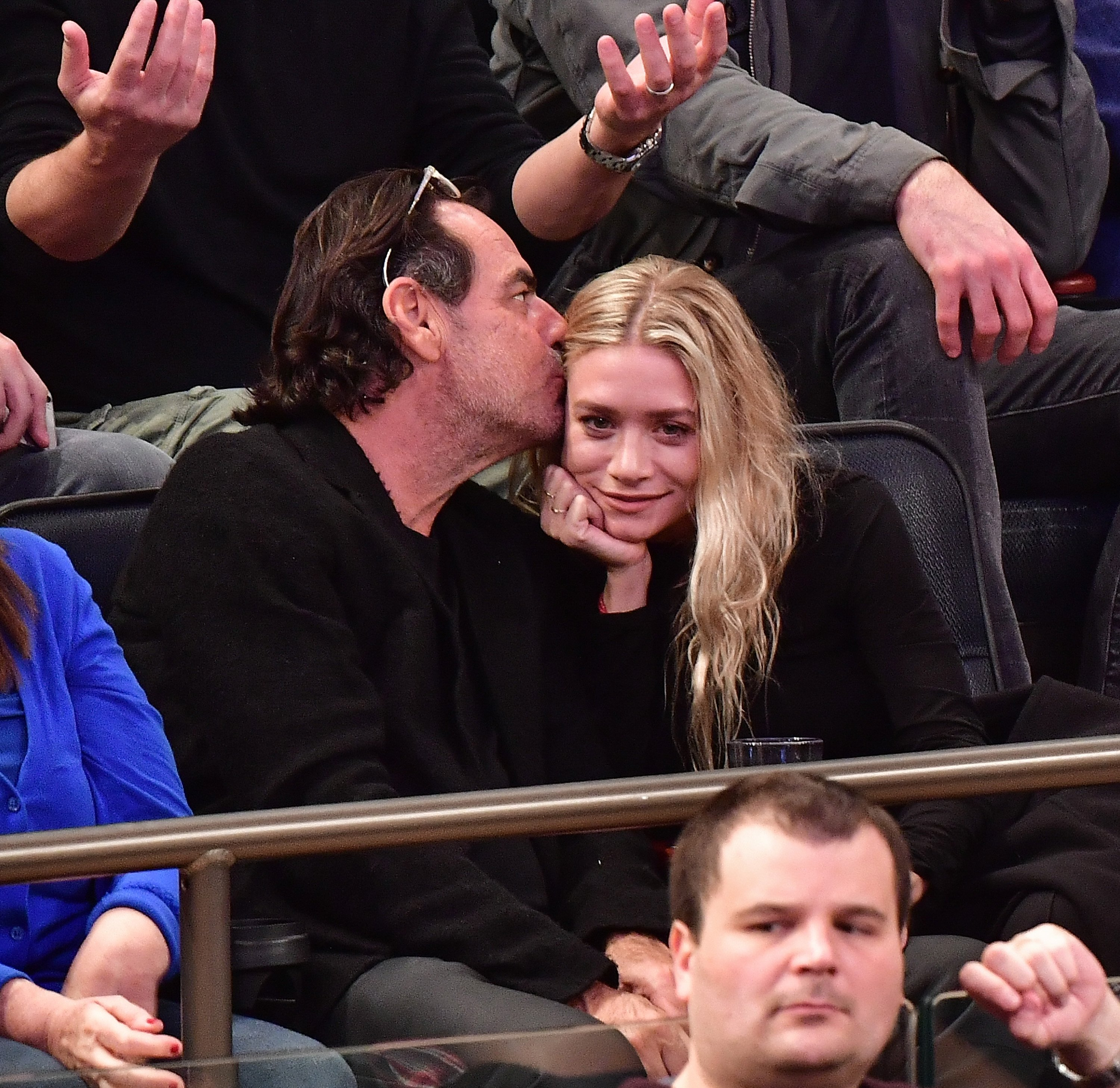 Ashley Olsen and Richard Sachs attend New York Knicks vs Brooklyn Nets game at Madison Square Garden on November 9, 2016 in New York City