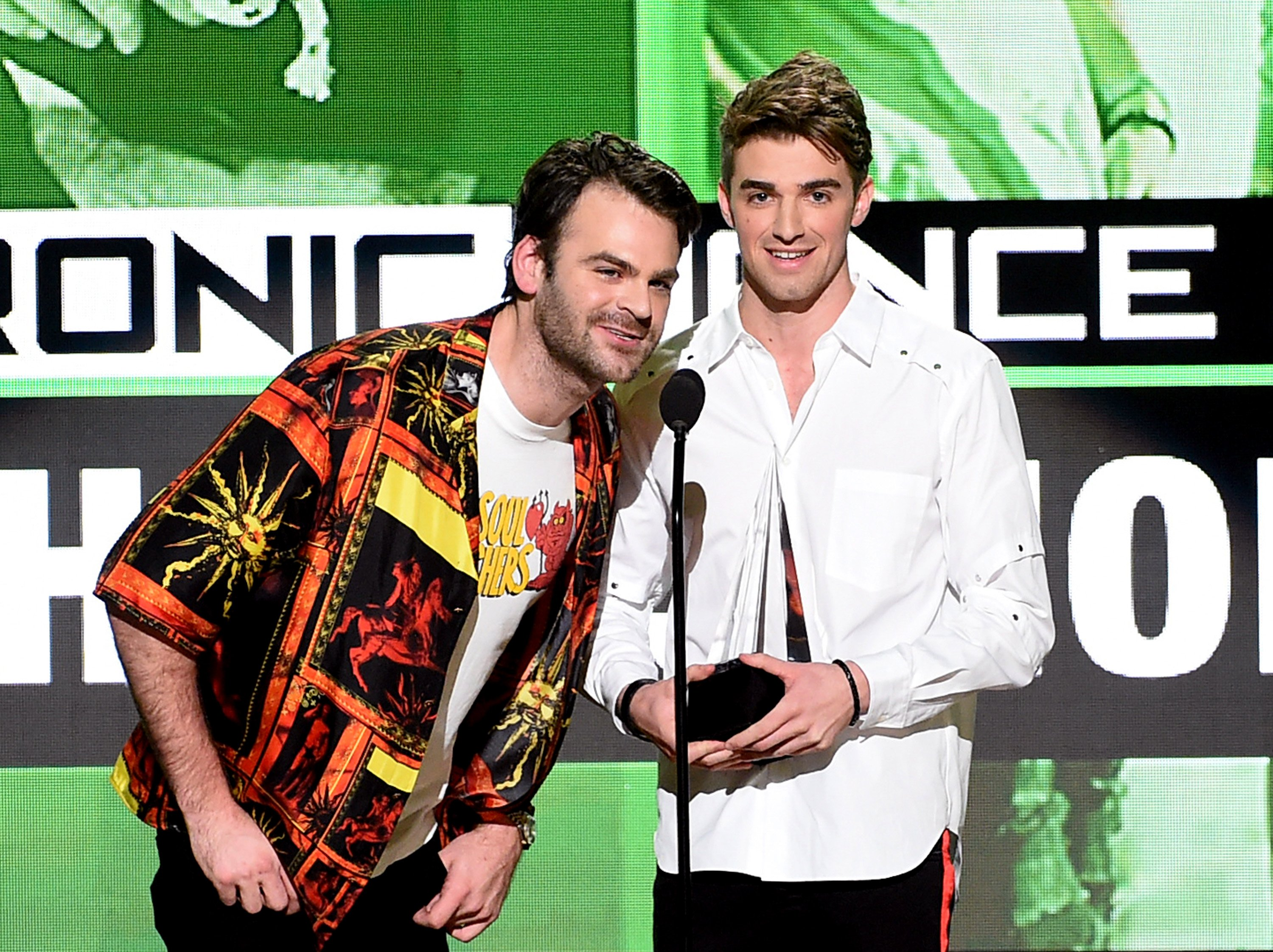 Alex Pall and Drew Taggart of The Chainsmokers accept Favorite EDM Artist onstage during the 2016 American Music Awards at Microsoft Theater on November 20, 2016 in Los Angeles