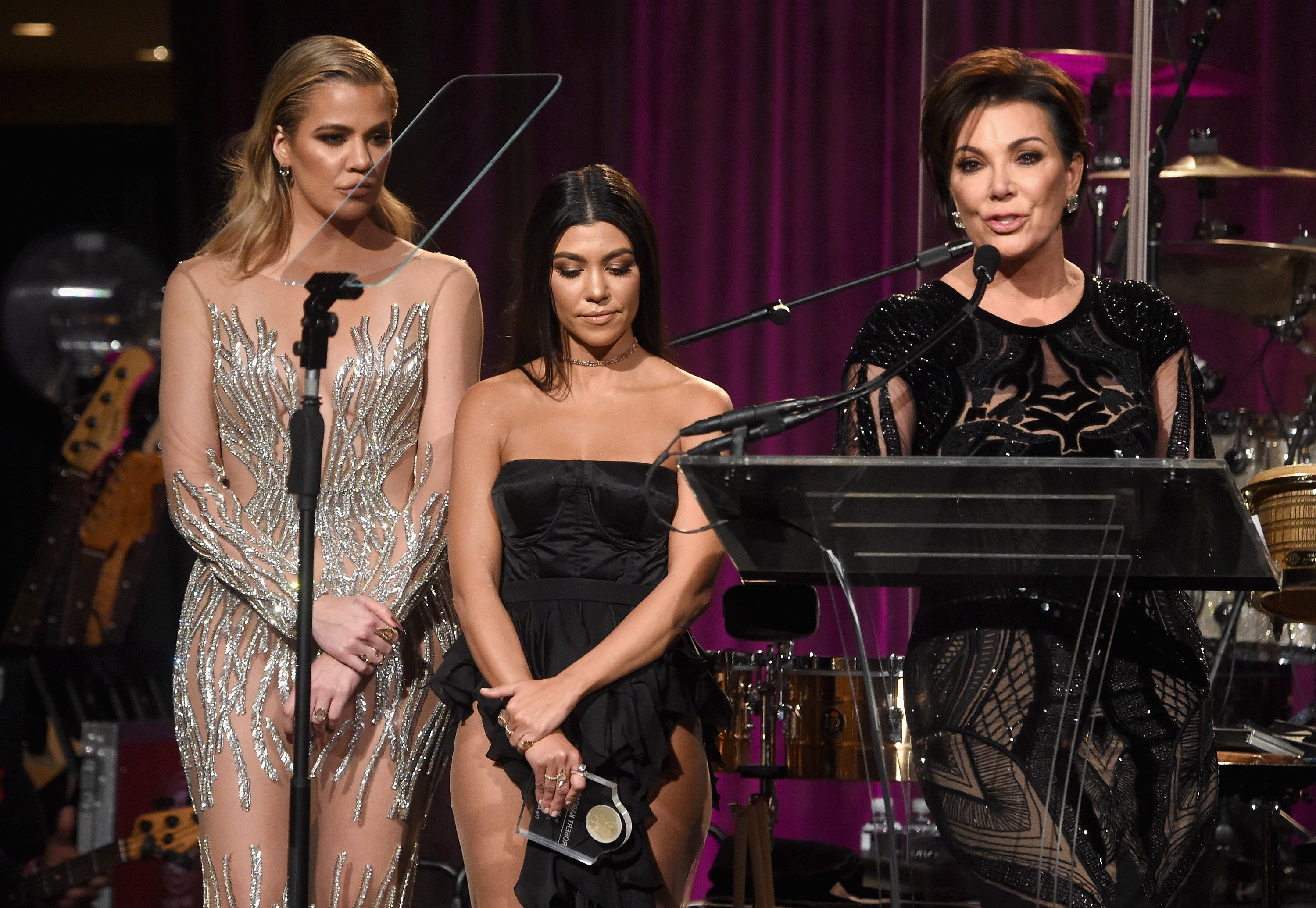 Khloe Kardashian, Kourtney Kardashian and Kris Jenner onstage at the 2016 Angel Ball hosted by Gabrielle's Angel Foundation For Cancer Research on November 21, 2016 in New York City