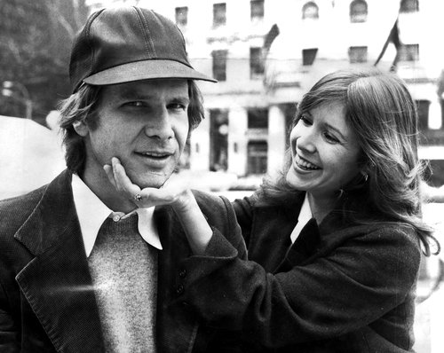 Harrison Ford and Carrie Fisher on Fifth Ave outside The Plaza hotel in New York City