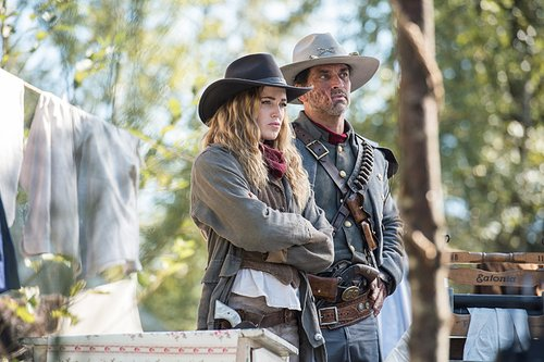 Caity Lotz as Sara Lance/White Canary and Johnathon Schaech as Jonah Hex in 'Legends of Tomorrow' Season 2, Episode 6 -- 'Outlaw Country'