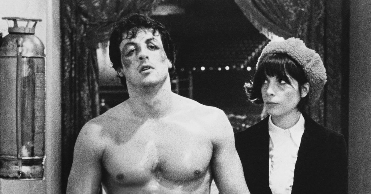 Sylvester Stallone as Rocky Balboa and Talia Shire as Adrian in 'Rocky'