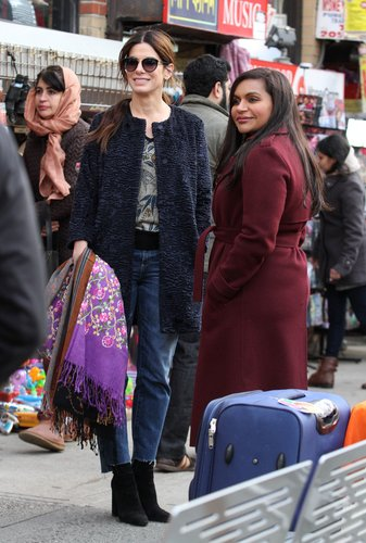 Sandra Bullock and Mindy Kaling film a scene on the set of 'Ocean's Eight' in Queens.