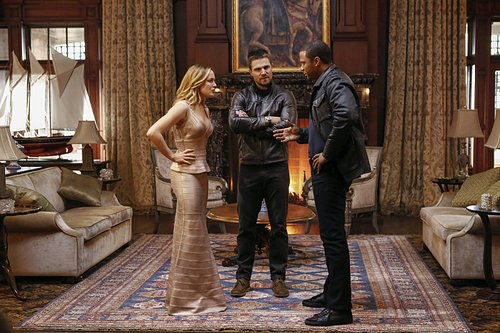 Caity Lotz, Stephen Amell and David Ramsey in a scene from the 'Arrow' 100th episode on The CW