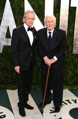 Michael Douglas and Kirk Douglas arrive at the 2012 Vanity Fair Oscar Party hosted by Graydon Carter at Sunset Tower on February 26, 2012 in West Hollywood