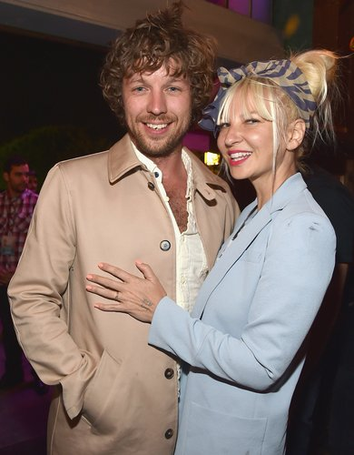 Sia and Erik Anders Lang attend the after party for the premiere of RADIUS-TWC's 'The One I Love' at Umami Burger on August 7, 2014 in Los Angeles