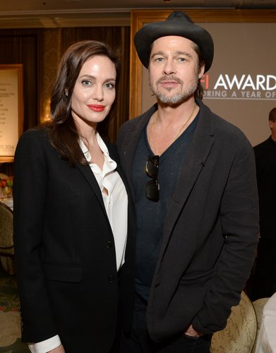 Angelina Jolie and Brad Pitt attend the 15th Annual AFI Awards Luncheon at Four Seasons Hotel Los Angeles at Beverly Hills on January 9, 2015 in Beverly Hills