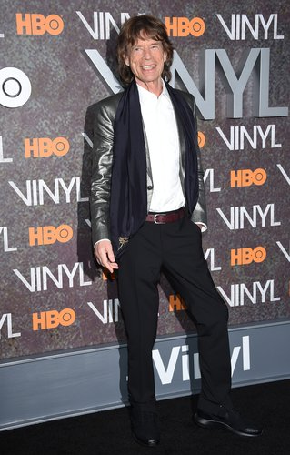 Mick Jagger attends the New York premiere of 'Vinyl' at Ziegfeld Theatre on January 15, 2016 in New York City